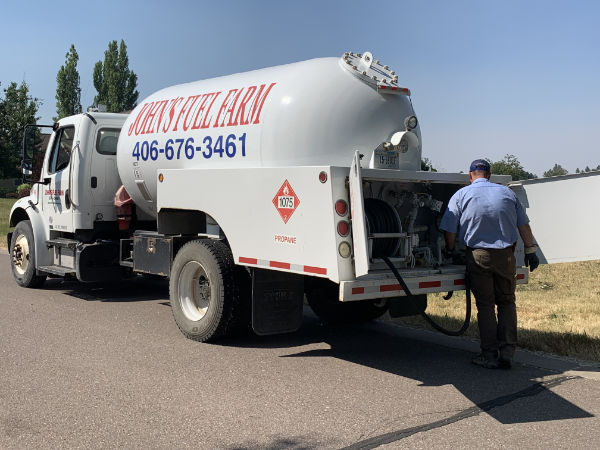 Fuel truck and employee